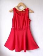 czerwona sukienka zip