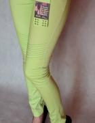 Zielone spodnie rurki bawełna S