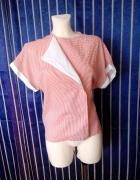 Ekstrawagancka Czerwono biała zakładana koszula XX
