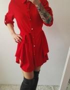 sukienka czerwona wiązana koszulowa bardzo modna