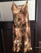 piękna sukienka brązy beże