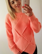 sweter morelowy romb cieply zima sweterek