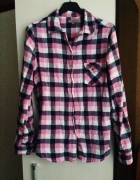Koszula w kratę 36 S rożowo czarna