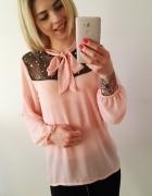 koszula różowa pudrowa nowa wiązana elegancka kokarda koraliki