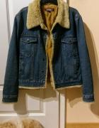 Kurtka Jeansowa z futerkiem ocieplana jeans denim katana vintage retro grunge