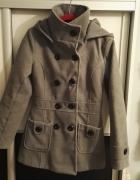 Szary płaszcz zimowy z kapturem rozmiar S