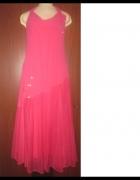 Nr 5 NOWA powiewna suknia z różami cekinami koralikami...