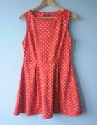 Atmosphere sukienka rozkloszowana grochy czerwona