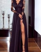 długa koronkowa rozkloszowana sukienka maxi bal studniówka