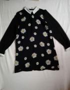 czarna sukienka w stokrotki tumblr harajuku XL z kołnierzykiem...