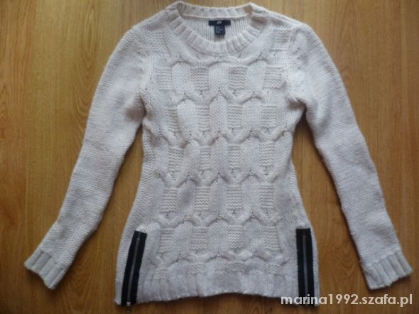 biały sweter suwaki H&M S