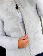 Kurtka płaszczyk z naturalnym futrem królika