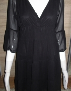 czarna sukienka falbanki S