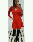 sukienka czerwona elegancka świąteczna