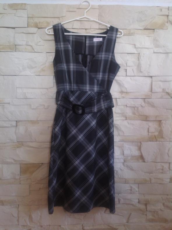 Elegancka siwa sukienka midi w kratkę 36 szara