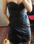 Czarna sukienka HM ze skóry bez ramiączek zasuwana