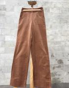 Spodnie brązowe aksamitne z szerokimi nogawkami rozm 38