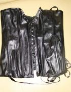 Sexowny gorset skórzany czarny Odzież Motocyklowa