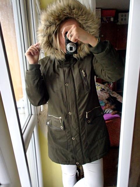 Parka płaszcz ogromne futro oliwkowa khaki