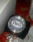 Zegarek srebrny stal D&G oryginalny z licencja