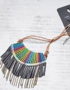 Top Secret naszyjnik kolia boho kolorowy frędzle indiański łańcuszki hippie nowy