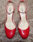 buty skórzane czerwone koturn mango 38