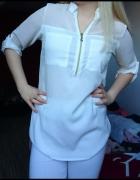 Biała mgiełka koszula zip zamek