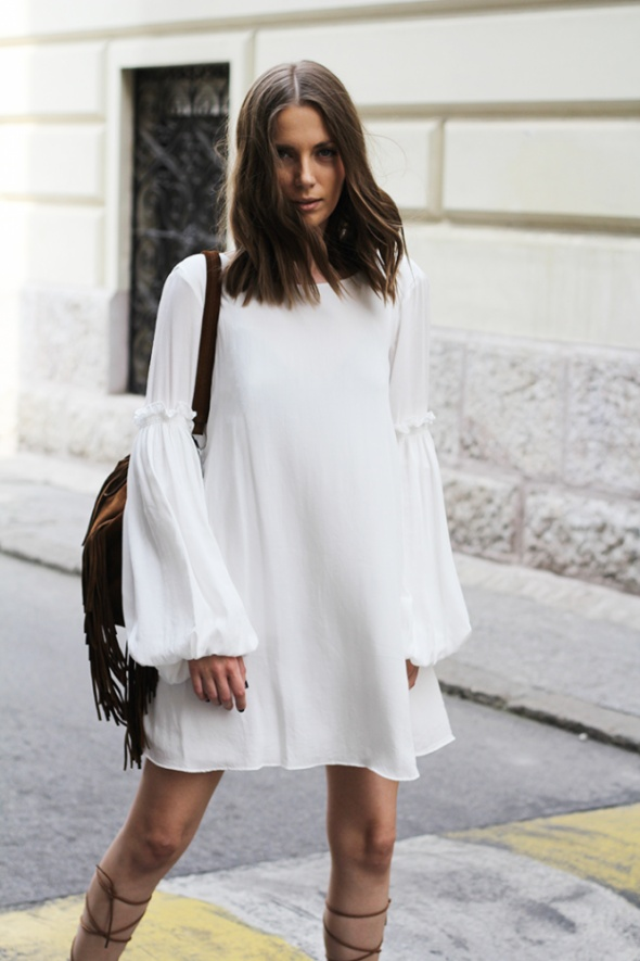 e1ffb72e3c Nowa biała sukienka boho z falbanami Zara M w Suknie i sukienki ...