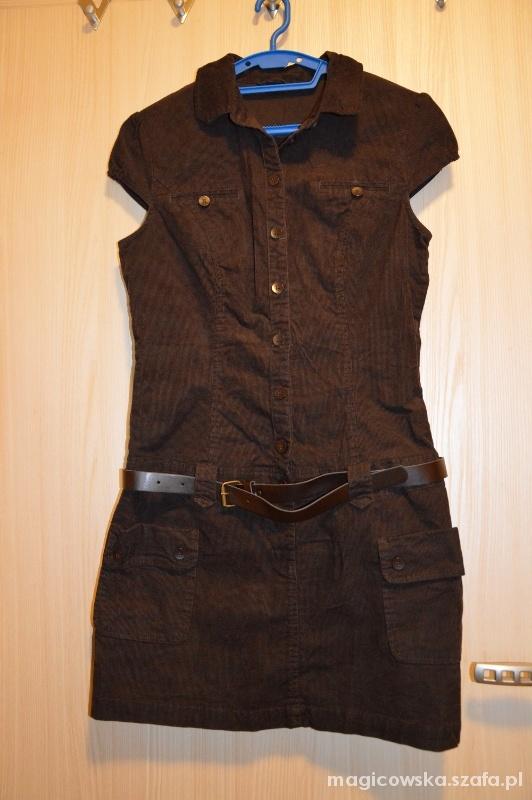Suknie i sukienki Szmizjerka z brązowego sztruksu