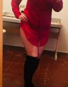 Bordowa czerwona koszula mgiełka s m dluga sukienka