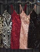 Sukienka cekinowe na ramiączkach czarno srebrna
