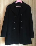 czarny dwurzędowy wełniany płaszcz L kaszmir