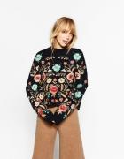 ZARA czarny sweter w haft kwiatowy floral...