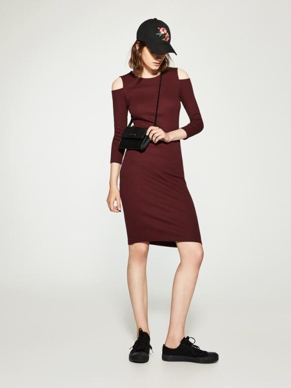 sukienka midi bordo M cold shoulders