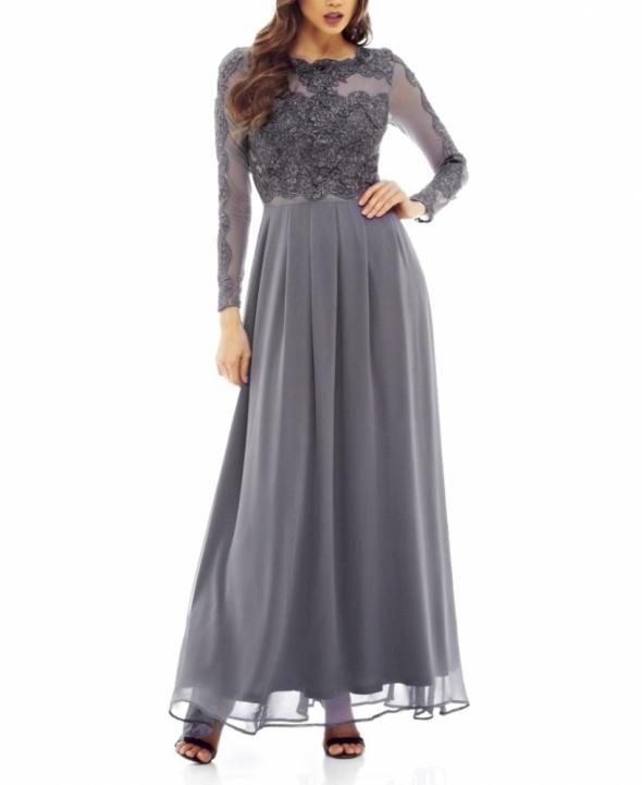 e2bd782bca Suknie i sukienki Szyfonowa długa sukienka na studniówkę z siateczką szara  z długim rękawem