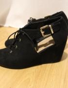 NOWE botki czarne sprzączka koturny New Look 38