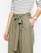spodnie culotte ASOS o trapezowym kroju lniane...