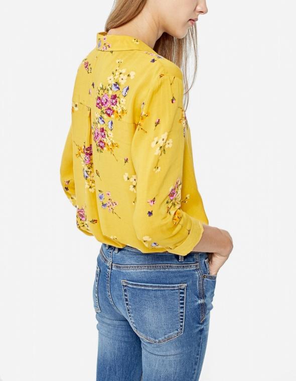 Koszula w kwiaty Stradivarius musztardowy...