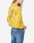 Koszula w kwiaty Stradivarius musztardowy