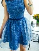 NOWA sukienka rozkloszowana rozm S blue