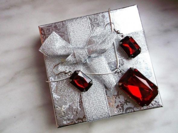 Komplety Czerwony Komplet Biżuterii