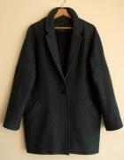 Nowy żakardowy płaszcz oversize szmaragdowy Promod