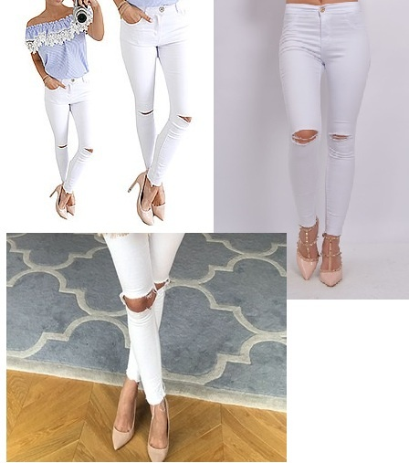 spodnie dziury na kolanach poszarpane nogawki wysoki stan...