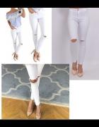 spodnie dziury na kolanach poszarpane nogawki wysoki stan