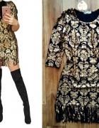 Sukienka złota błyszcząca Paris frędzle