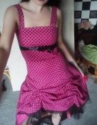 sukienka różowa w czarne grochy pin up rockabilly