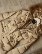 Płaszcz puch naturalny długa kurtka futro 36 S