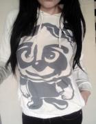 bluza biała panda kangurka