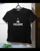 Zara nowa czarna koszulka z napisem minimalizm