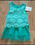 Nowa tiulowa miętowa sukienka koronkowa wyjściowa